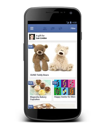 PRESENTS: Facebook Gifts lets users send chocolate, coffee, socks and other real-life presents to one another.