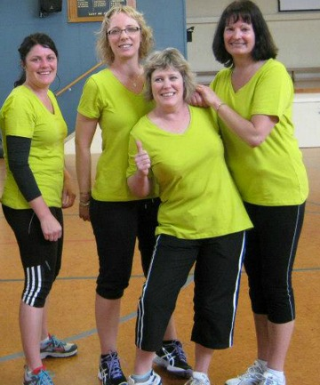 GAME ON: 2nd Impression members, from left, Rachel Taylor, Cath Slee, Suzie Annear and Vicki MacDonald take part in the Pink and Steel Pilates Trust exercise fundraiser, held in Timaru earlier this month.