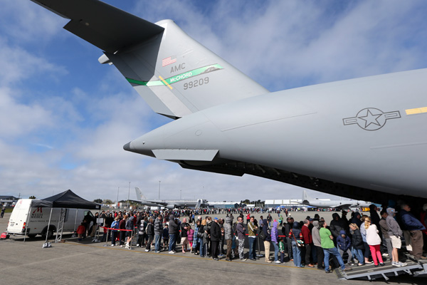 Hundreds of Cantabrians queued for hours to get a closer look at the US Globemaster at Christchurch International Airport today.