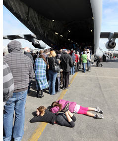 Queuing to get into the Globemaster was hard work for these two girls.