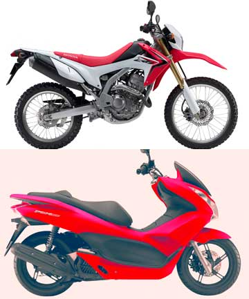 Honda's CRF250L dirtbike (top) and the PCX150 big wheeled scooter.
