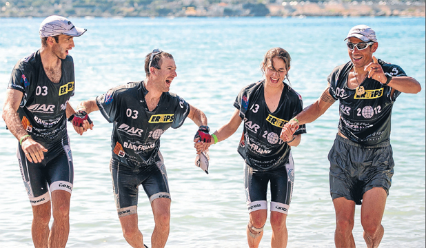 OUTSTANDING: Team Seagate, from left, Trevor Voyce, Chris Forne, Sophie Hart and Nathan Fa'avae celebrate victory in the world adventure racing championships in France.
