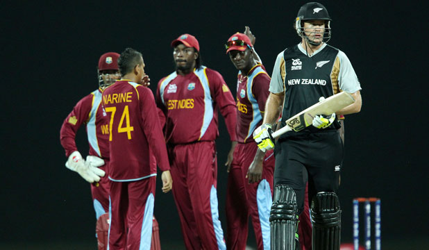 TAKING A WALK: Jacob Oram is given out during the ICC World Twenty20 Super Eights match between The West Indies and New Zealand.