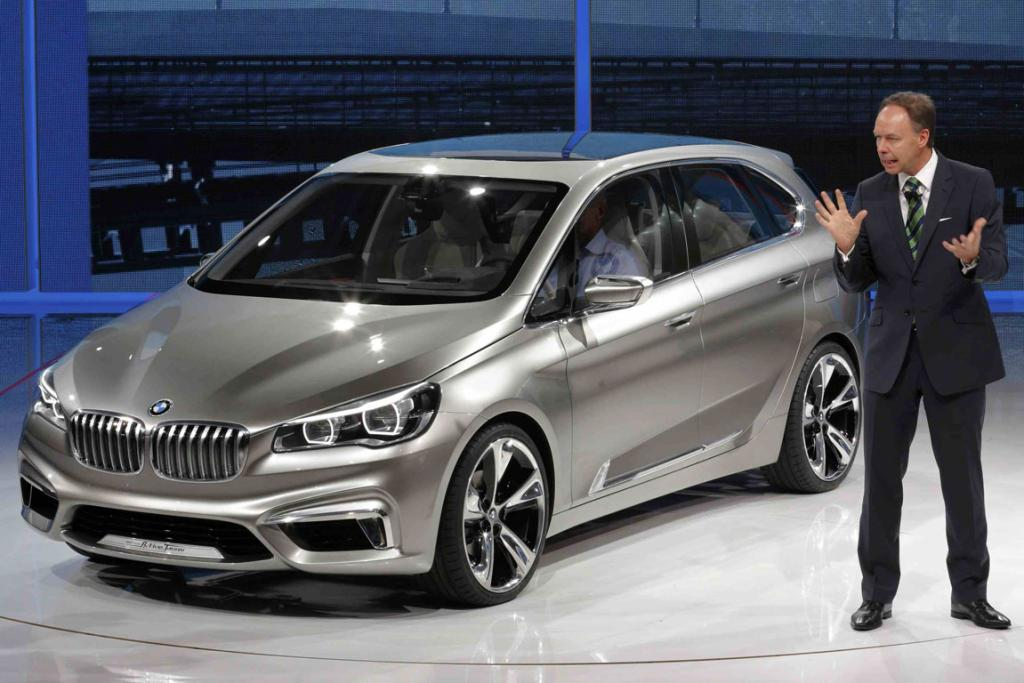 BMW Group Sales and Marketing manager Ian Robertson introduces the BMW Active Tourer at the Paris Motor Show.