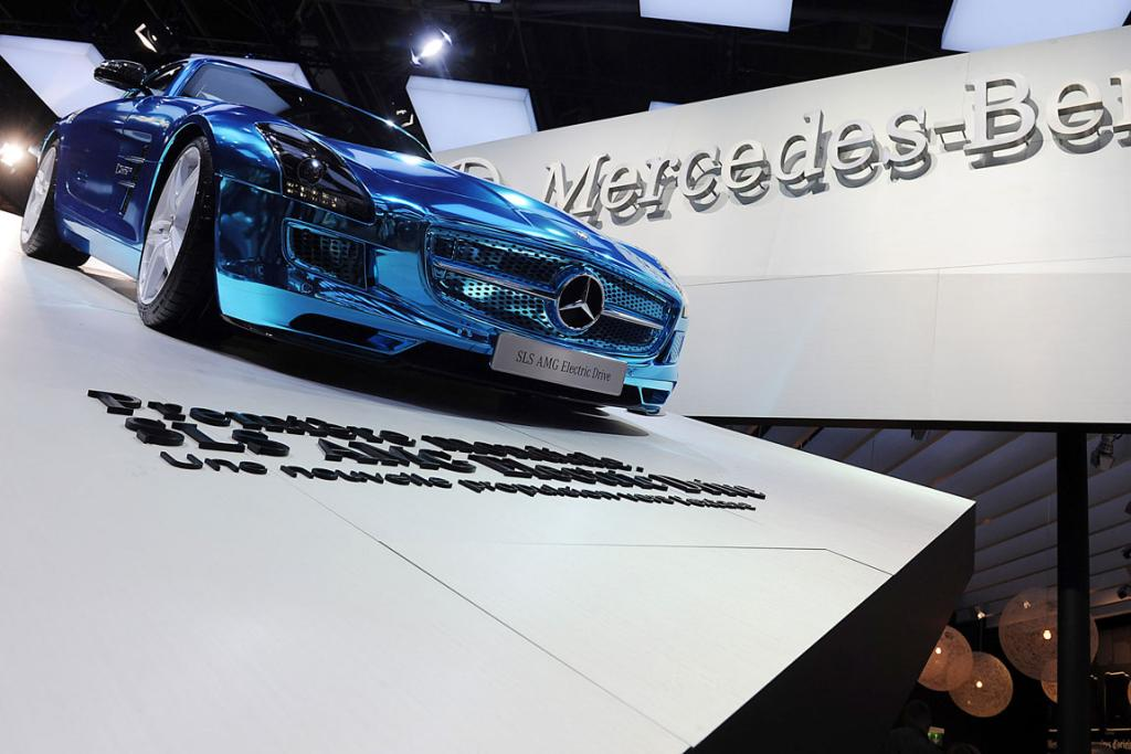 A Mercedes-Benz SLS AMG Electric Drive sits on display at the Paris Motor Show.