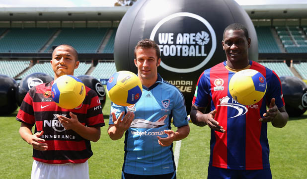 The A-League's three high profile signings (from left) Shinji Ono, Alessandro Del Piero and Emile Heskey at the 2012/13 season launch at Parramatta Stadium.