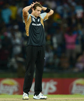 TOUGH TO TAKE: Tim Southee reacts as New Zealand are knocked out of the Twenty World Cup by the West Indies in a super over.