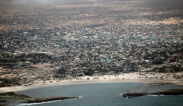 RECLAIMED: The Somali port town of Kismayo is seen in this aerial photograph taken from a Kenyan Defence Forces patrol helicopter.