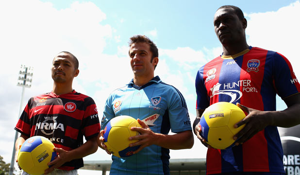 IMPORTED GOODS: Marquee signings Shinji Ono (Western Sydney Wanderers), Alessandero Del Piero (Sydney FC) and Emile Heskey (Newcastle Jets) at the A-League season launch at Parramatta Stadium.