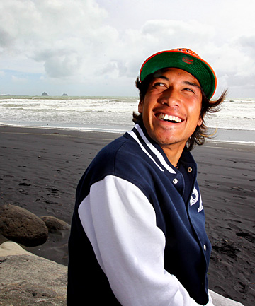 Raglan surfer Wiremu Ormsby, 17,  was back out surfing  yesterday after nearly drowning at Fitzroy Beach