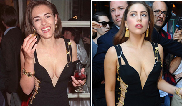 WHO LOOKS BETTER?: Liz Hurley wears the original and Lady Gaga her copycat.