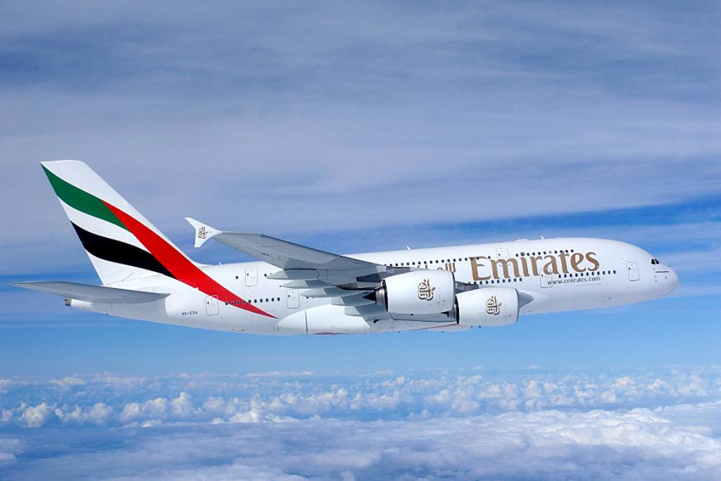 The Emirates A380 in action.