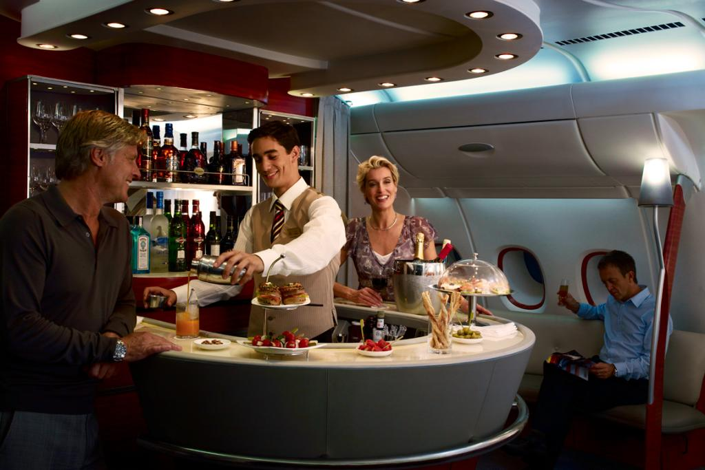 The Emirates A380 onboard lounge.