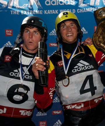 TOP-TWO: New Zealanders, second-placed Mike Dawson (left) and winner Sam Sutton, at last year's world extreme kayaking championships.