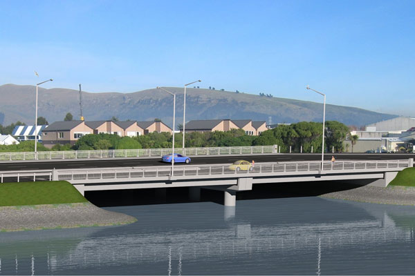 An artist's impression of how the new Ferrymead Bridge will look - the bridge will be four lanes, with separate pedestrian and cycle lanes, and the work will involve improvements to the Bridal Path intersection lay-out.
