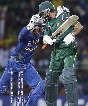Pakistan's Shahid Afridi is bowled out by Sri Lanka's Rangana Herath as wicketkeeper Kumar Sangakkara celebrates during their Twenty20 World Cup semi-final in Colombo.