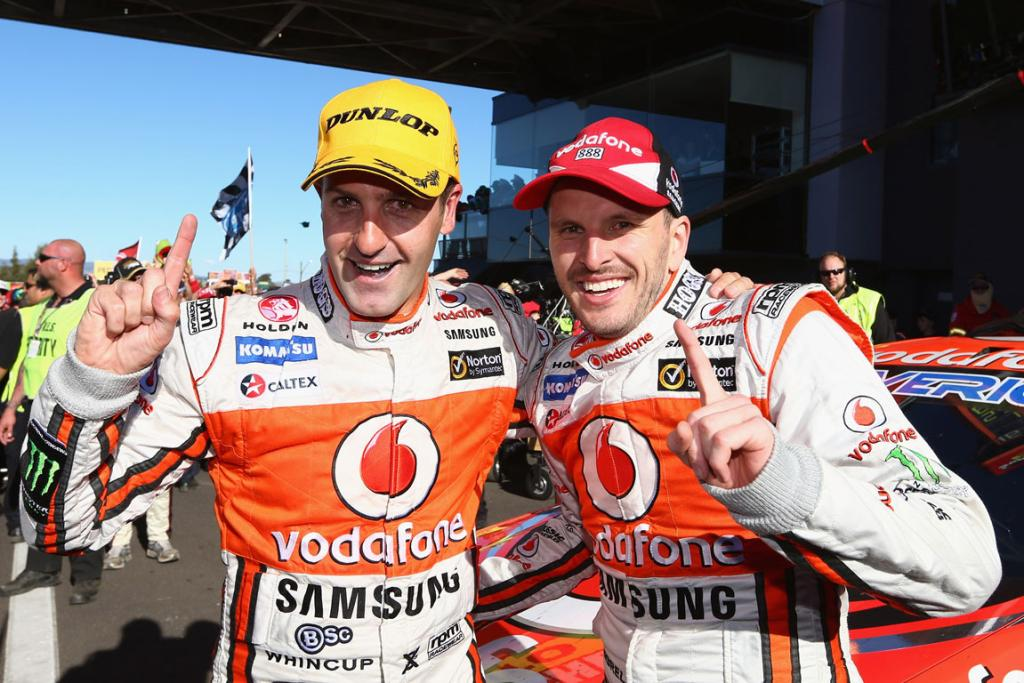 Jamie Whincup and Paul Dumbrell after winning Bathurst.