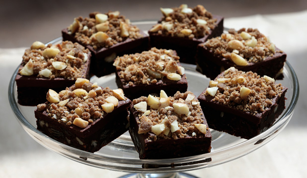 Chocolate Fudge Slice with Macadamia Nut Crumble