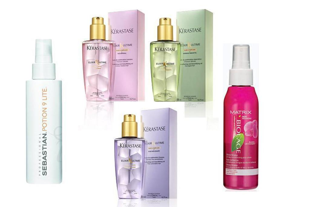 Deep moisture: Sebastian Potion 9 Lite, $51.50; Kerastase Le Grand Crus (there are three different oils in this collection, each for different hair needs so you can mix and match), $49 each;  Matrix Biolage Colour Care Shine Shake, $30.