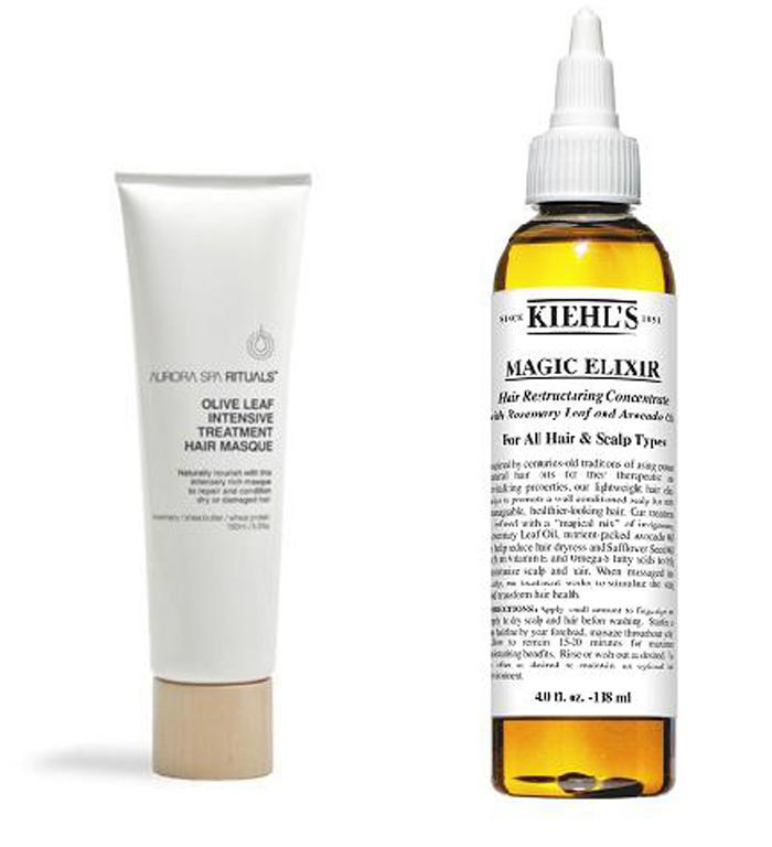 Look after your scalp: Kiehl's Magic Elixir, $70; Aurora Spa Ritual Intensive Hair and Scalp Mask, $52 from Mecca Cosmetica.