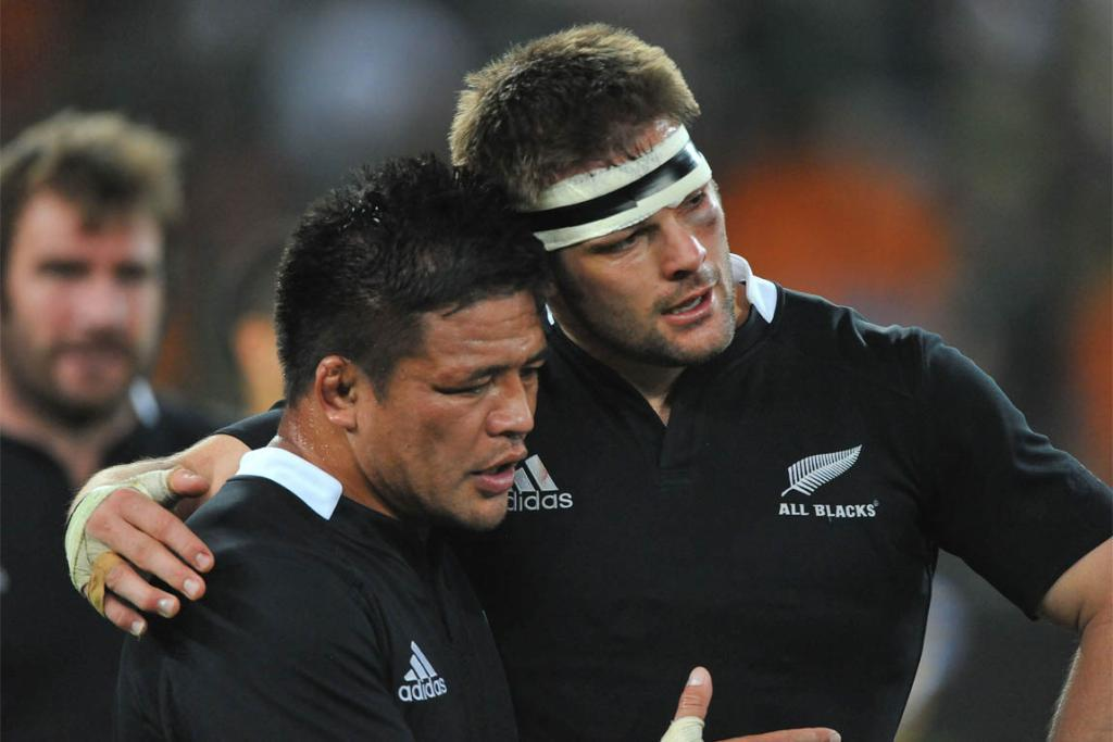 Richie McCaw and Keven Mealamu at the end of their most recent Rugby Championship game against South Africa.