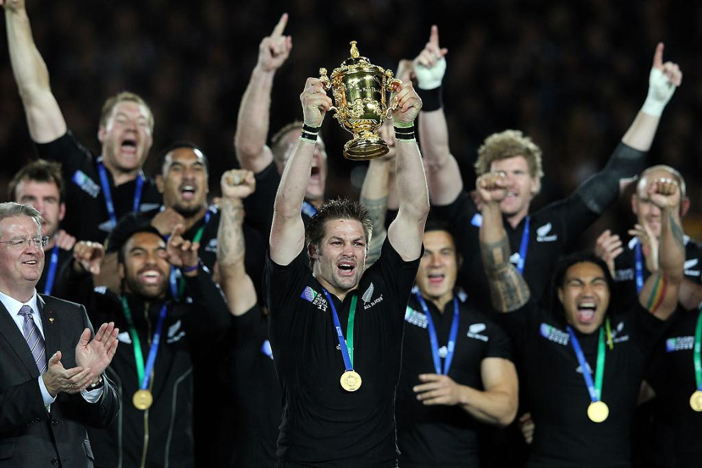 Captain Richie McCaw lifts the William Webb Ellis Trophy after the All Blacks won the 2011 Rugby World Cup at Eden Park in Auckland.