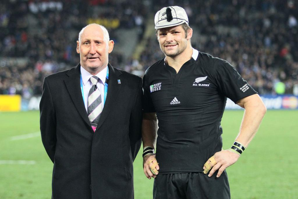 Richie McCaw with late Alll Black great Jock Hobbs who awarded the cap for 100 test matches for New Zealand to Richie in 2011.