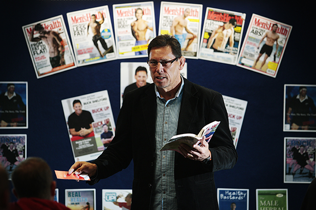 MAN UP: Buck Shelford  talks about his new book and men's health at Chartwell Library yesterday.