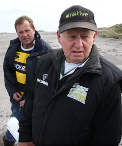 Peter Johnston, front, and Andy Whitehead on the beach at Sandy Bay, Oaonui.