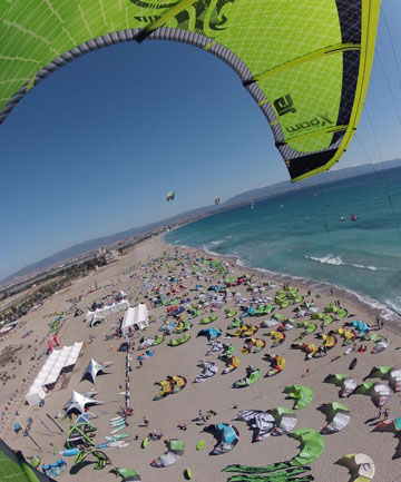 Kiters prepare for racing at the World Championships in Cagliari, Italy.