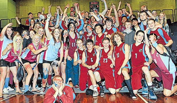 HUGE SUPPORT: Nayland College fans show their true colours at the national secondary schools basketball semifinal.