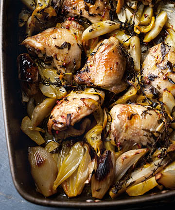 INSPIRED: Roasted chicken with Jerusalem artichokes and lemon.