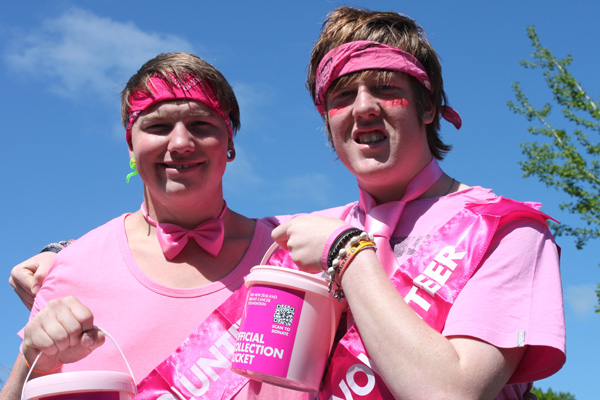 Matamata College students Jeremy Jeffcoat and Campbell Bolton-Hampton in their pink attire.