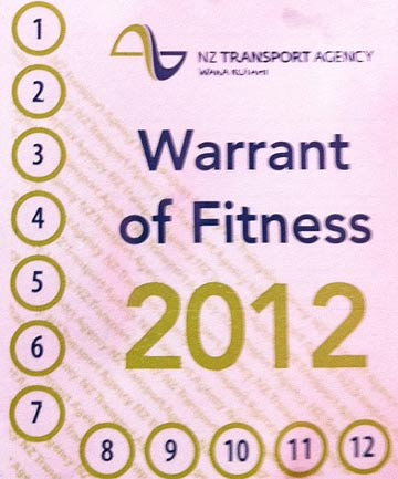 Warrant of Fitness sticker.