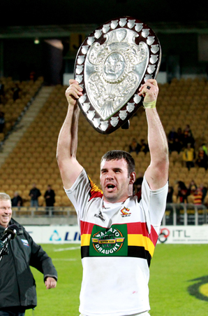 TRIUMPH: Waikato skipper Alex Bradley celebrates winning the Ranfurly Shield from Taranaki.