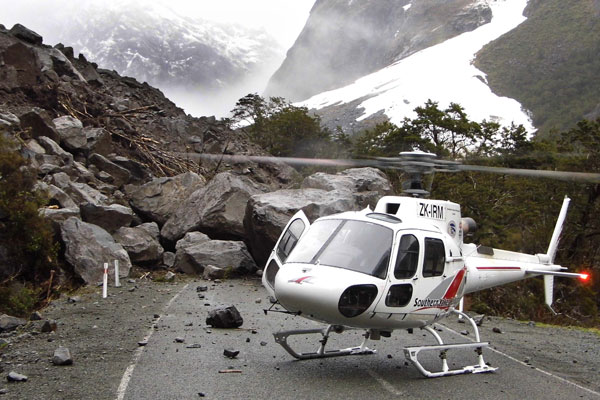 The road to Milford Sounds is closed after a landslide closed State Highway 94 between Falls Creek and Monkey Creek.