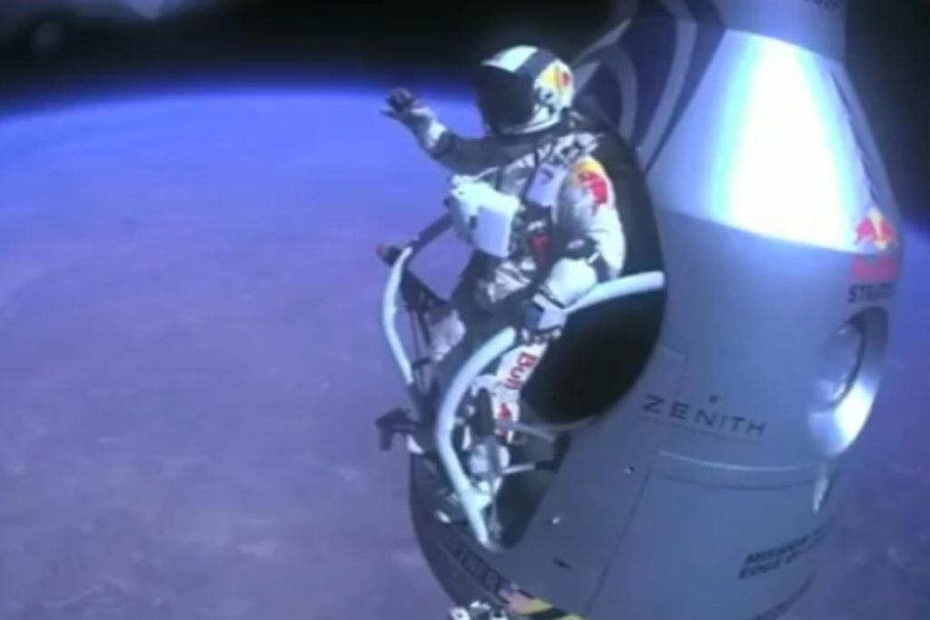 Felix Baumgartner prepares to jump from his capsule at 8534m above the Earth.