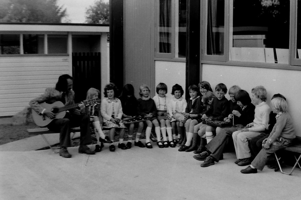 """HISTORY CLASS: Readers identified Te Moana School teacher Brian Pearson with a class circa the late 70s or early 1980s. Some of the children have been identified as Tracey Guildford (from left), Leona Wooding, Carmen Pearson, Lisa Bruce, Vicky Mallinson, Shona Wooding, Kate Moulson, Ann Robinson, Andreas Harlow, Mark Mallinson, and Paul Wooding (13th), Matthew Moulson and Colin Guildford. Shona Wooding provided us with a first hand account: """"I'm actually in [the photo] with my elder sister and brother. It was taken in 1976 and was for the opening of the new school building for Te Moana School. I had only just turned 5 and we were singing and entertaining the guests that were there for the opening [...] I am now 41, so what a blast from the past."""""""