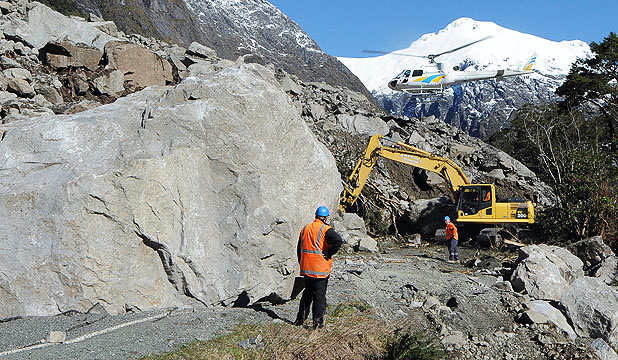 Boulders blasted to unblock Milford Rd   Stuff co nz