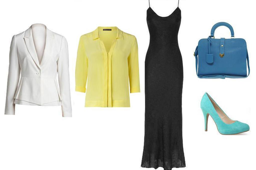 Sweet Office: Emerge blazer, $99 from Ezibuy; David Lawrence blouse, $150; T by Alexander Wang dress; Asos bag, $75 and Miss Sofie shoes, $149 from Shoe Connection.