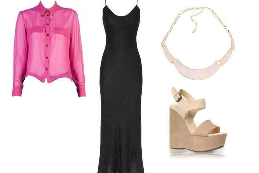 Weekend pretty: Salasai shirt, $330 from Superette; T by Alexander Wang dress; Diva necklace, $19.99 and wedges, $149.90 from Wild Pair.