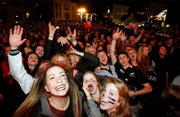 HIGH TIMES: Rugby World Cup fans celebrate on Courtenay Place following the All Blacks winning the 2011 World Cup.