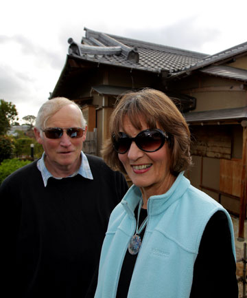 Caretakers of the Japanese Tea House in New Plymouth, Ian and Naomi Wilson
