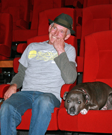 """Stewart Island film producer Pete Davis and the narrator of the film, his dog Lola, get ready for the premiere of  """"A Local's Tail""""."""