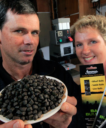FISHY TREATS: Stoke couple Jim and Chris Jobe with their dehydrated bait bullets for wharf fishing.