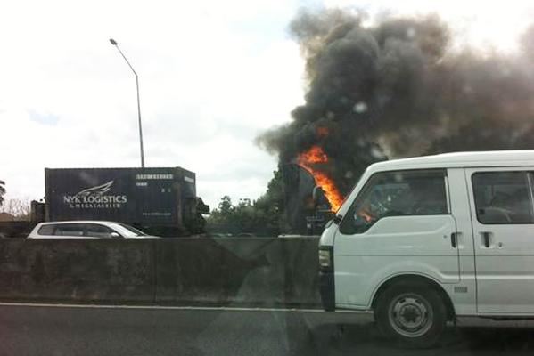 Truck in flames
