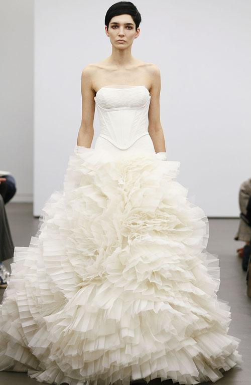 A sleek corset top is paired with a fluffy skirt in this Vera Wang dress.
