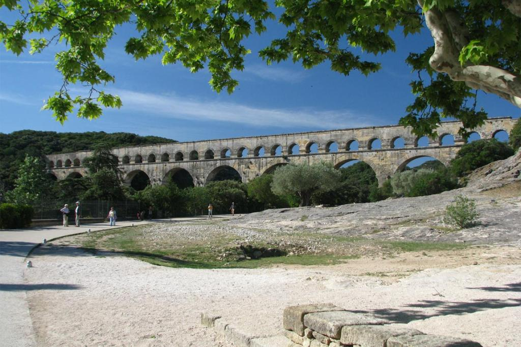 Roman aqueduct at Pont du Gard, France.