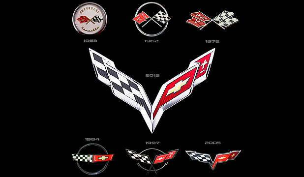 Corvette Crossed Flags designs over the years.