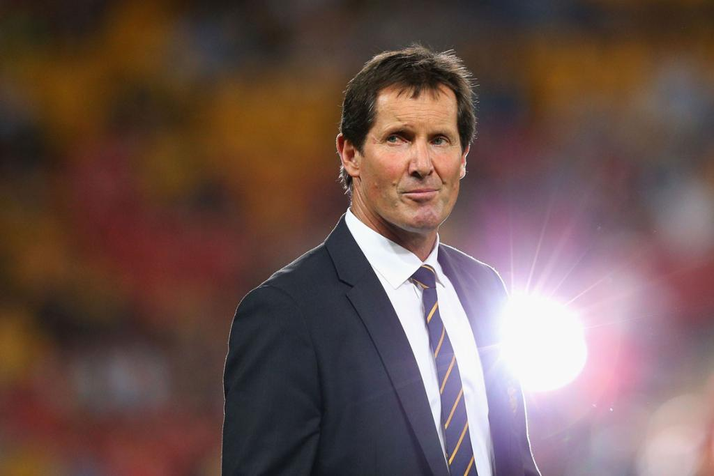 Wallabies' coach Robbie Deans awaits kick-off.